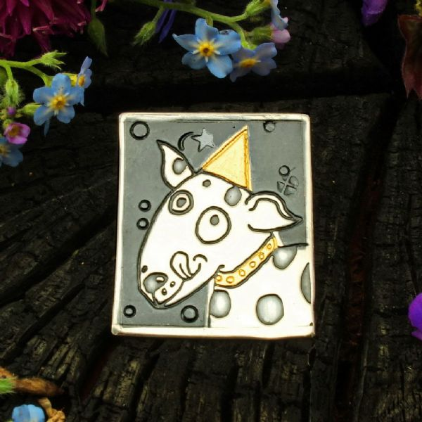 Dog brooch No.2 Keum boo handmade silver and gold animal jewellery